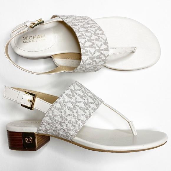 Michael Michael Kors White Flat Sandals